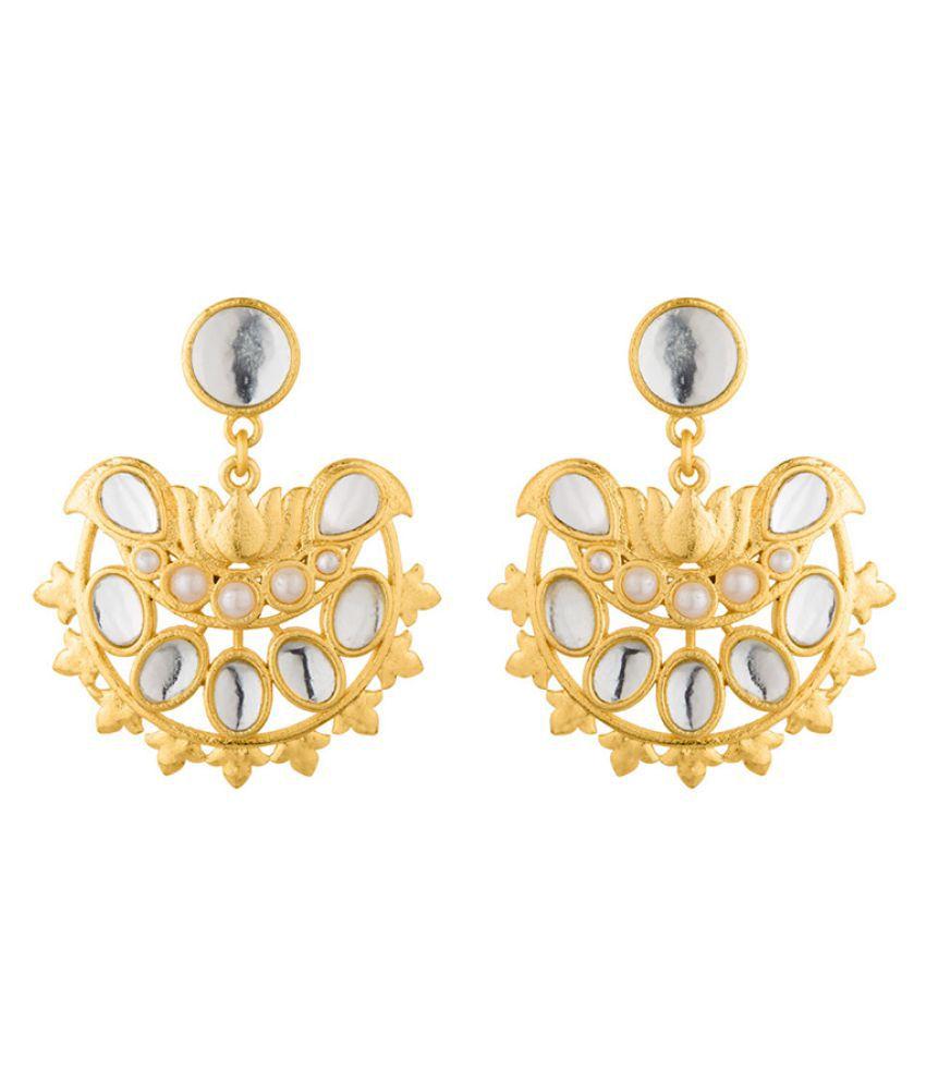 Voylla Nikaah White Pearl and Kundan Drop Earrings For Women