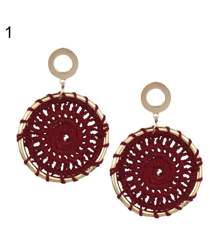 Boho Round Crocheted Pendant Stud Drop Earrings Statement Women Jewelry Gift