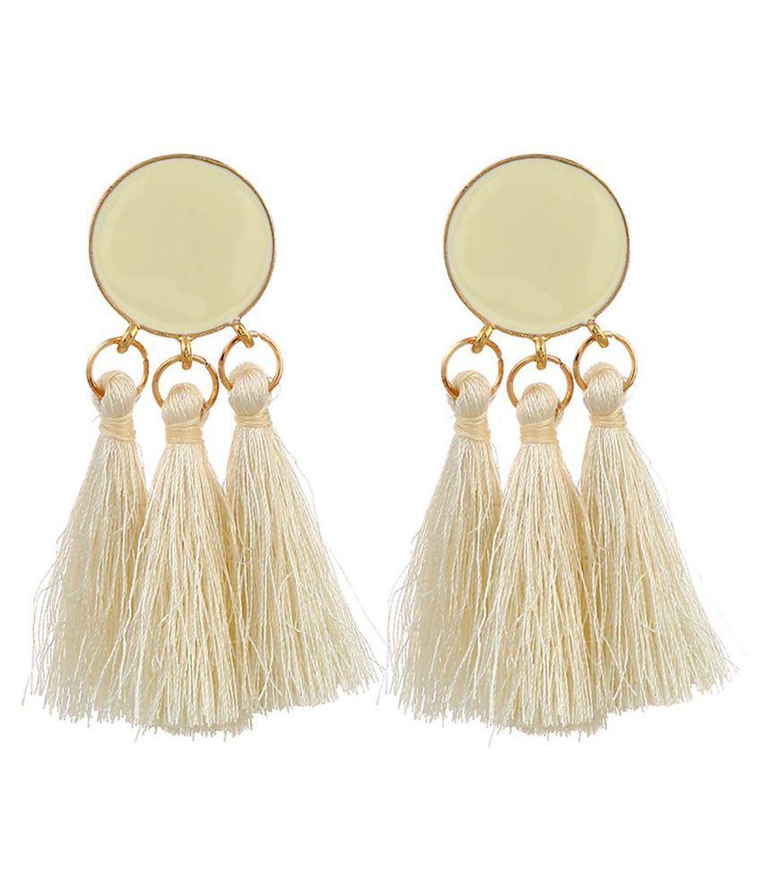 Boho Women Ethnic Round Enamel Tassel Dangle Ear Stud Statement Earrings Jewelry