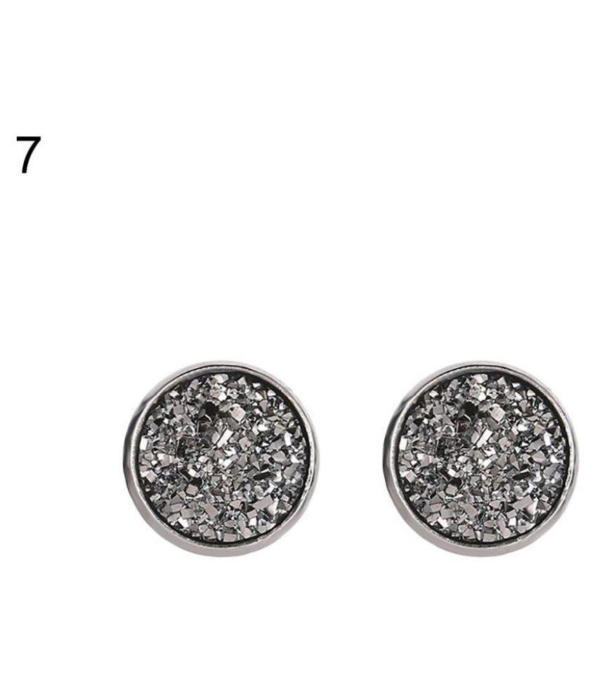 Women Round Starry Sky Ear Studs Stainless Steel Earrings Piercing Jewelry Gift