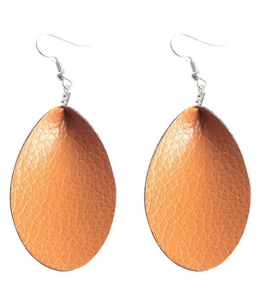 Women Faux Leather Water Drop Jewelry Party Club Hook Earrings Birthday Gift