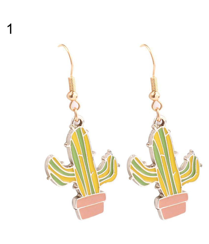 Girls Cactus Coconut Tree Hook Earrings Cute Anti-allergy Party Shopping Jewelry