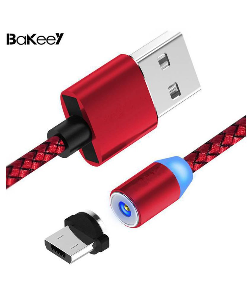 Original Bakeey 360 Degree Magnetic LED Micro USB Braided Data Charging Cable for Samsung S8 Note 8 S9 Xiaomi Black Red