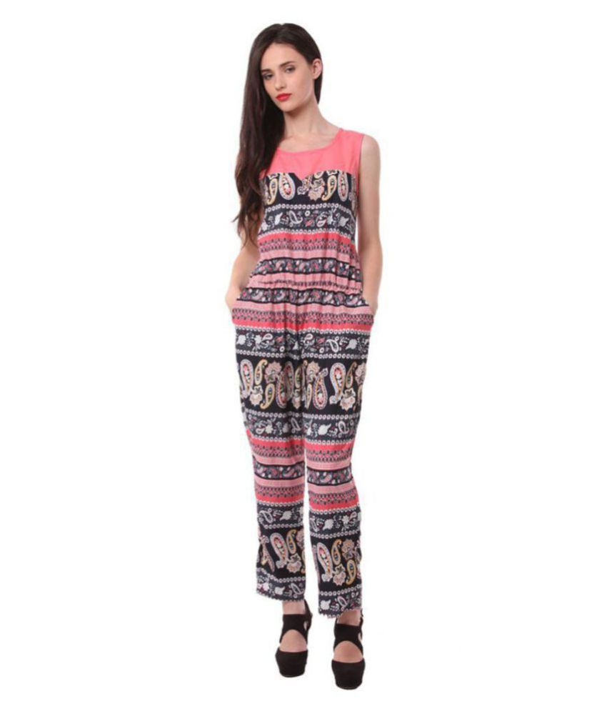 shree wow Pink Crepe Jumpsuit