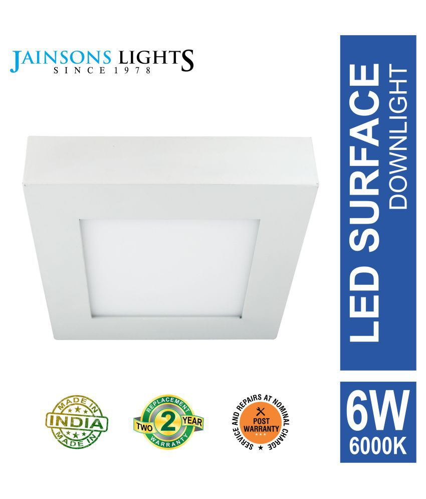 Jainsons Lights 6W Square Ceiling Light 12 cms. - Pack of 1