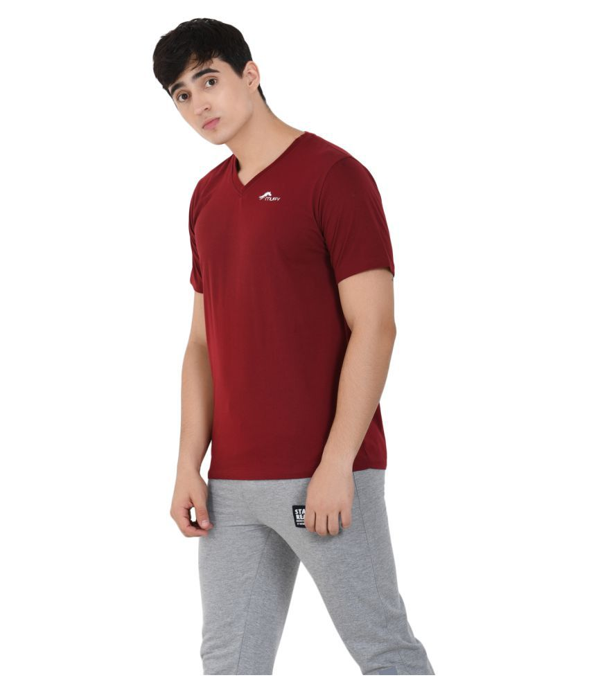 Muffy Polyester Cotton Maroon Solids T-Shirt - Buy Muffy ...