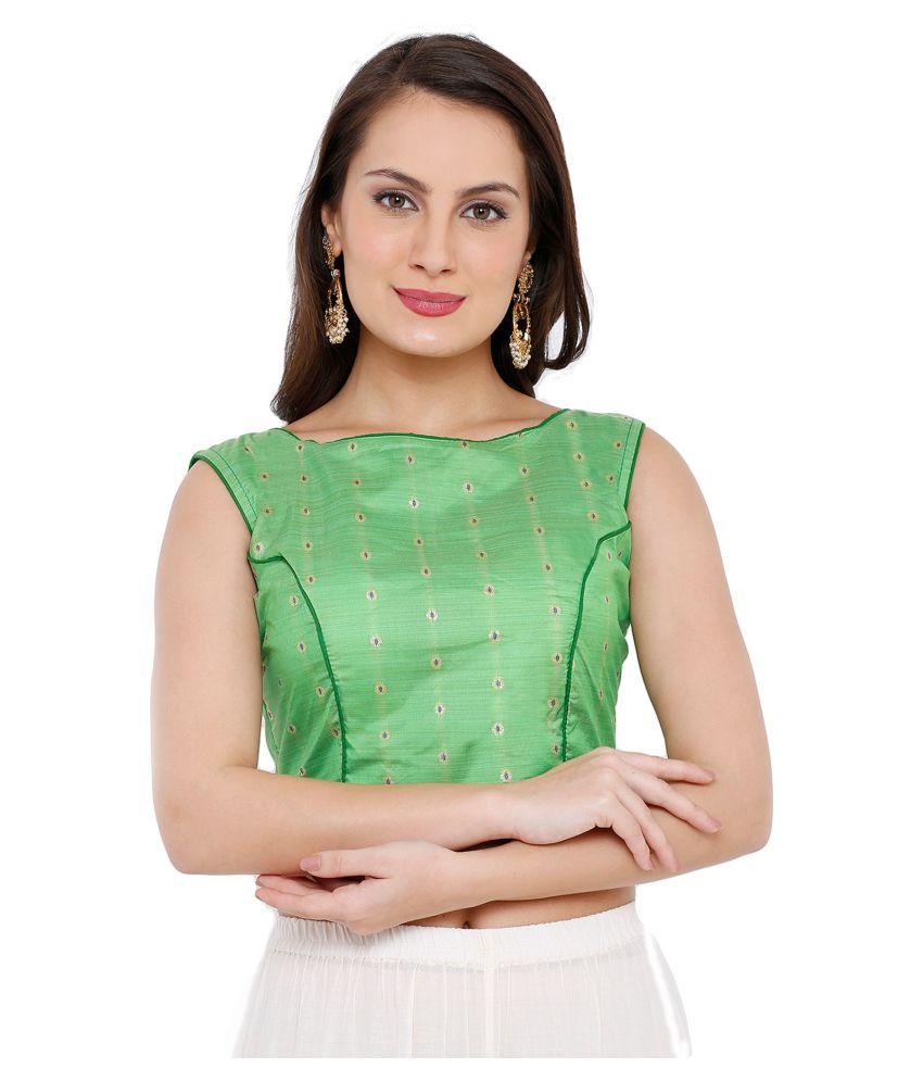 Salwar Studio Green Silk Readymade with Pad Blouse