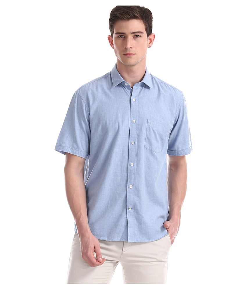 Arrow Cotton Blend Blue Solids Shirt