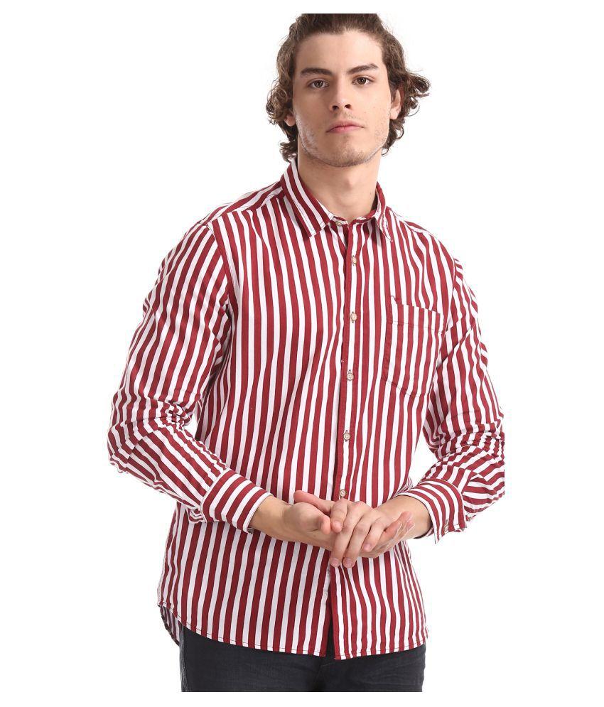 Flying Machine 100 Percent Cotton Red Stripes Shirt