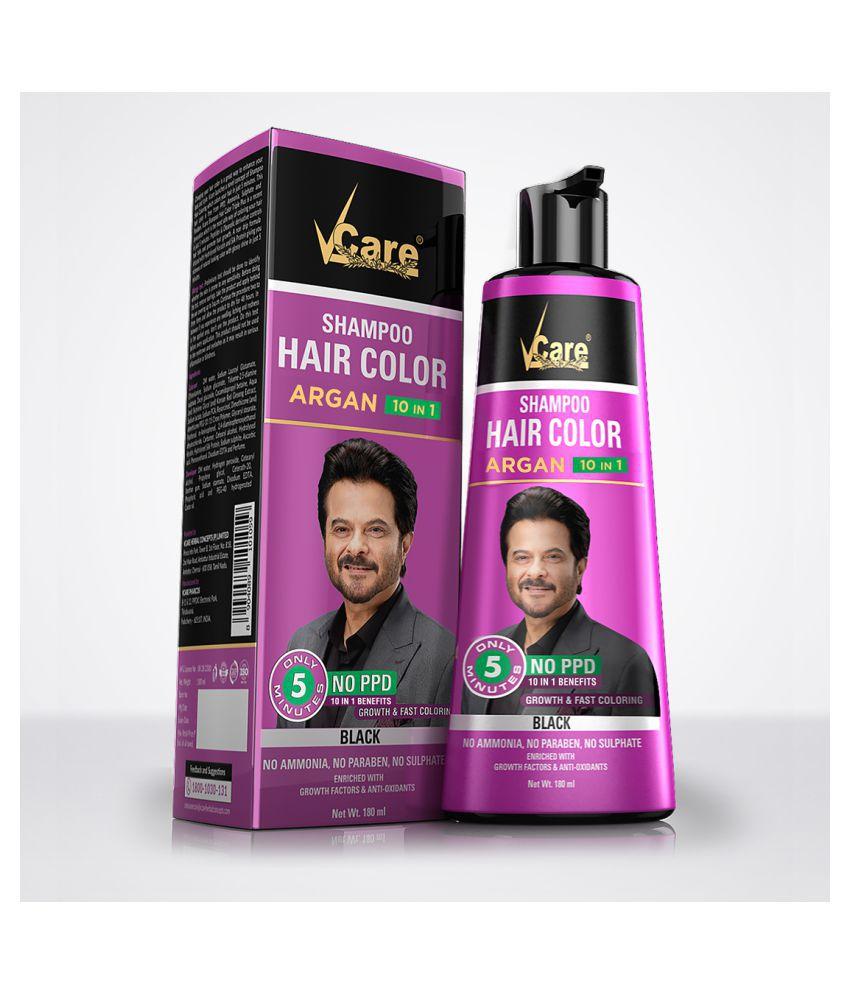 Anand India Vcare Hair shampoo Black Temporary Hair Color Black 180 mL