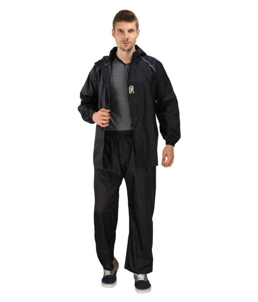 Goodluck Nylon Raincoat Set - Black