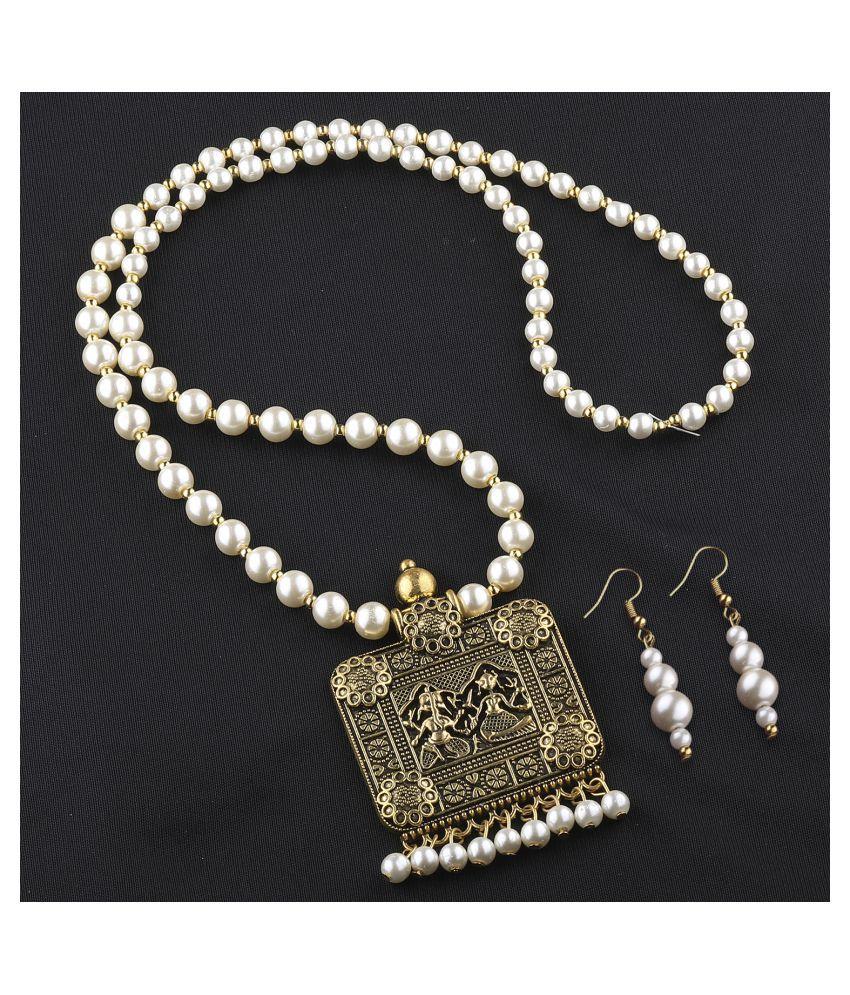 Silver Shine Pearls Golden Contemporary Contemporary/Fashion Antique Necklaces Set