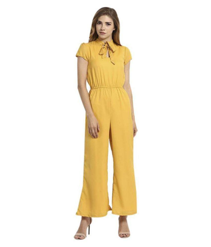 shree wow Yellow Crepe Jumpsuit