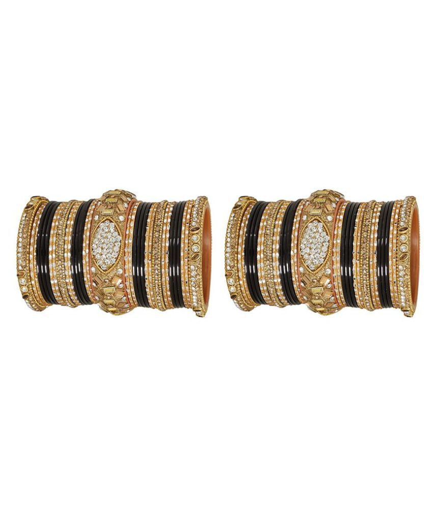 MUCH MORE Ethnic Gold Tone 2 set of Polki Bangles Traditional Jewellery with Ruby Stone