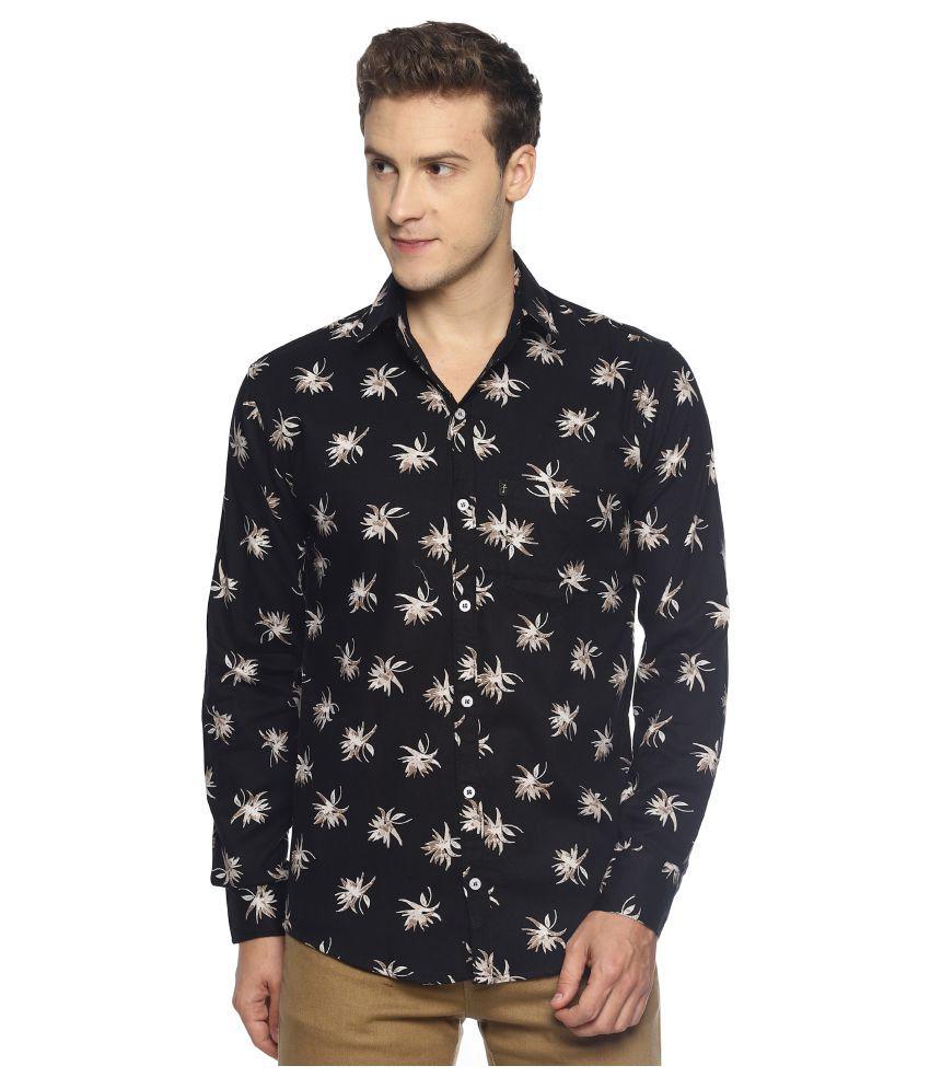 Levizo 100 Percent Cotton Black Prints Shirt