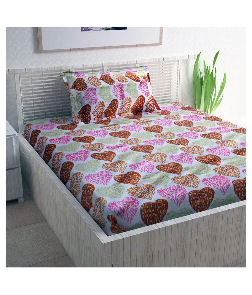 DIVINE CASA Cotton Single Bedsheet with 1 Pillow Cover