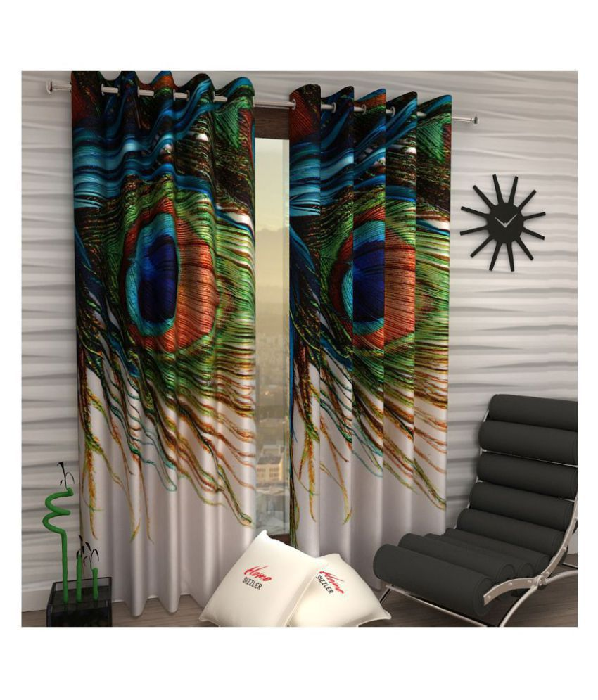 Home Sizzler Set of 2 Window Blackout Room Darkening Eyelet Polyester Curtains Multi Color ( 4Ft X 5 Ft)