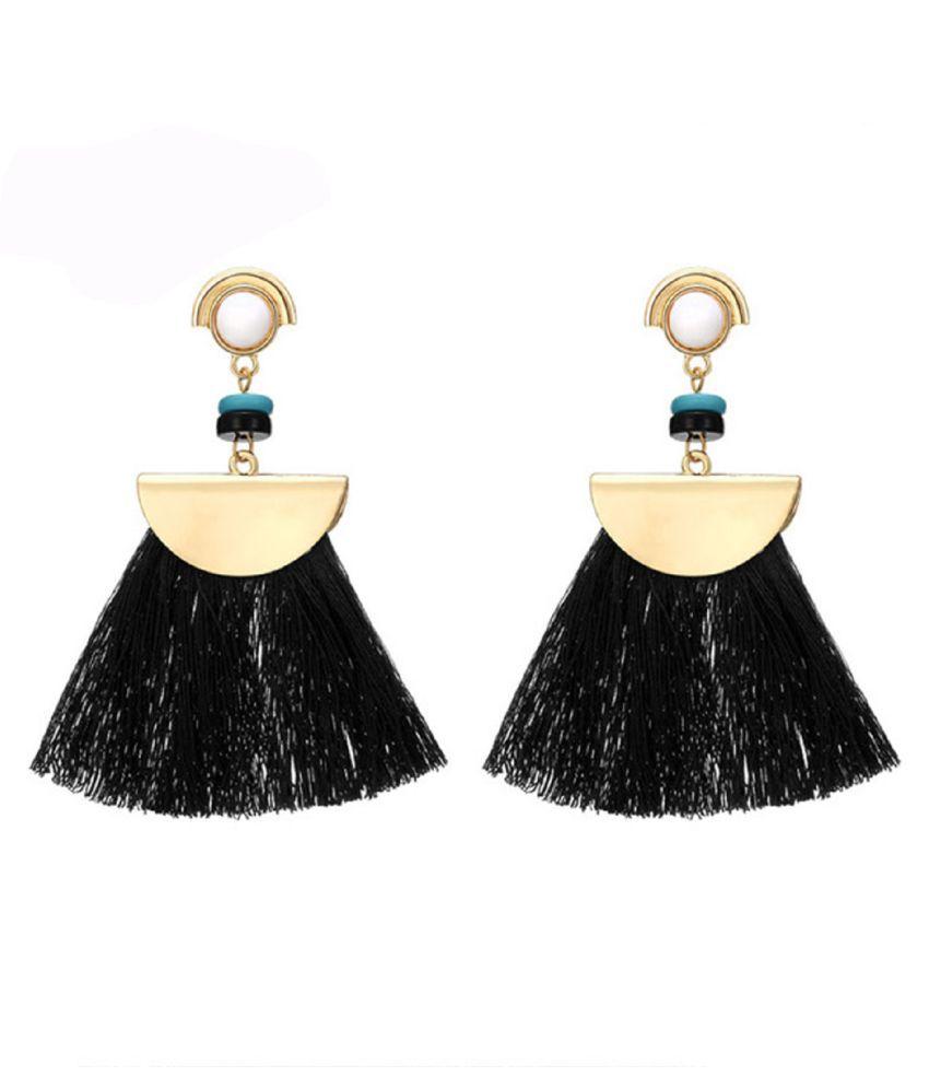 OOMPH Jewellery Black Tassel with Beads Drop Fashion Earrings For Women & Girls