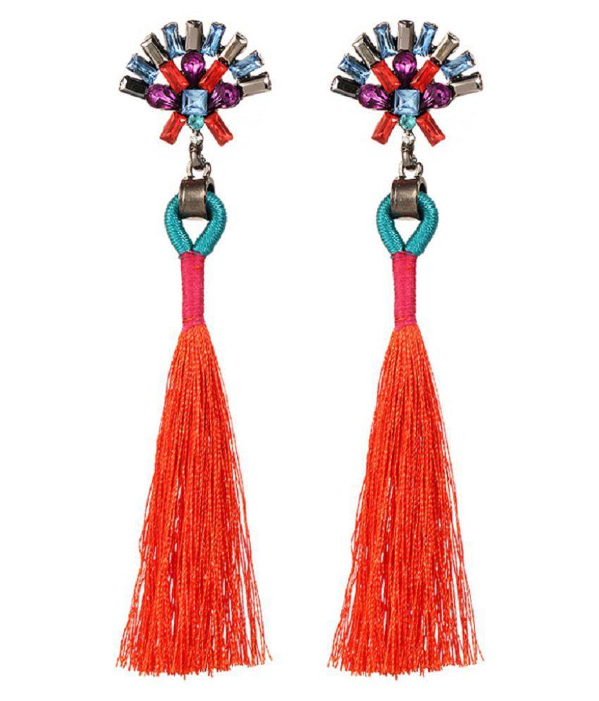 OOMPH Jewellery Red Tassel & Crystal Drop Earrings