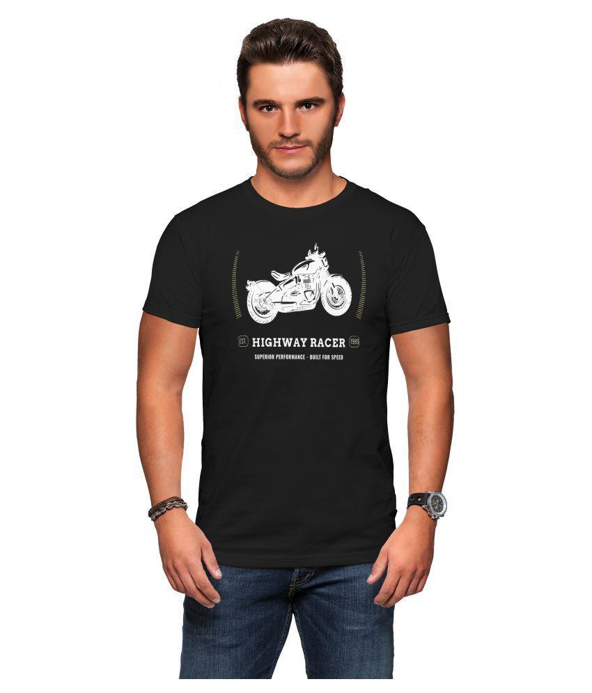 Tees 100 Percent Cotton Black Printed T-Shirt
