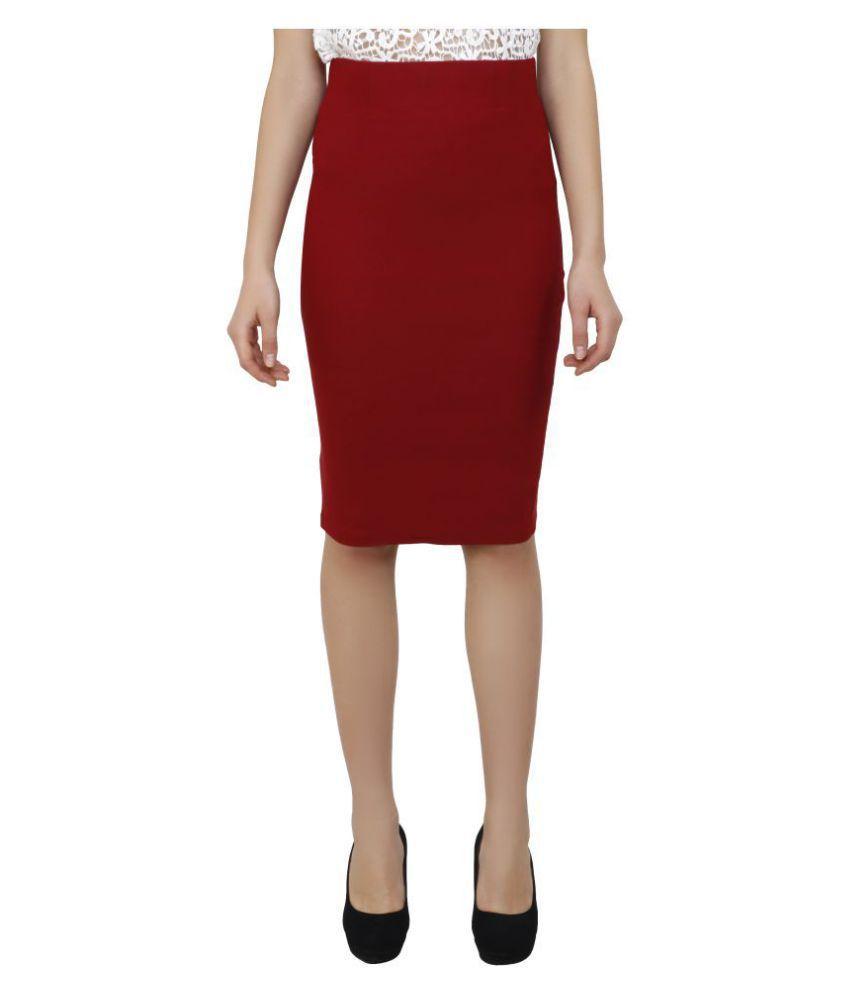 Aadrika Cotton Lycra Pencil Skirt - Red