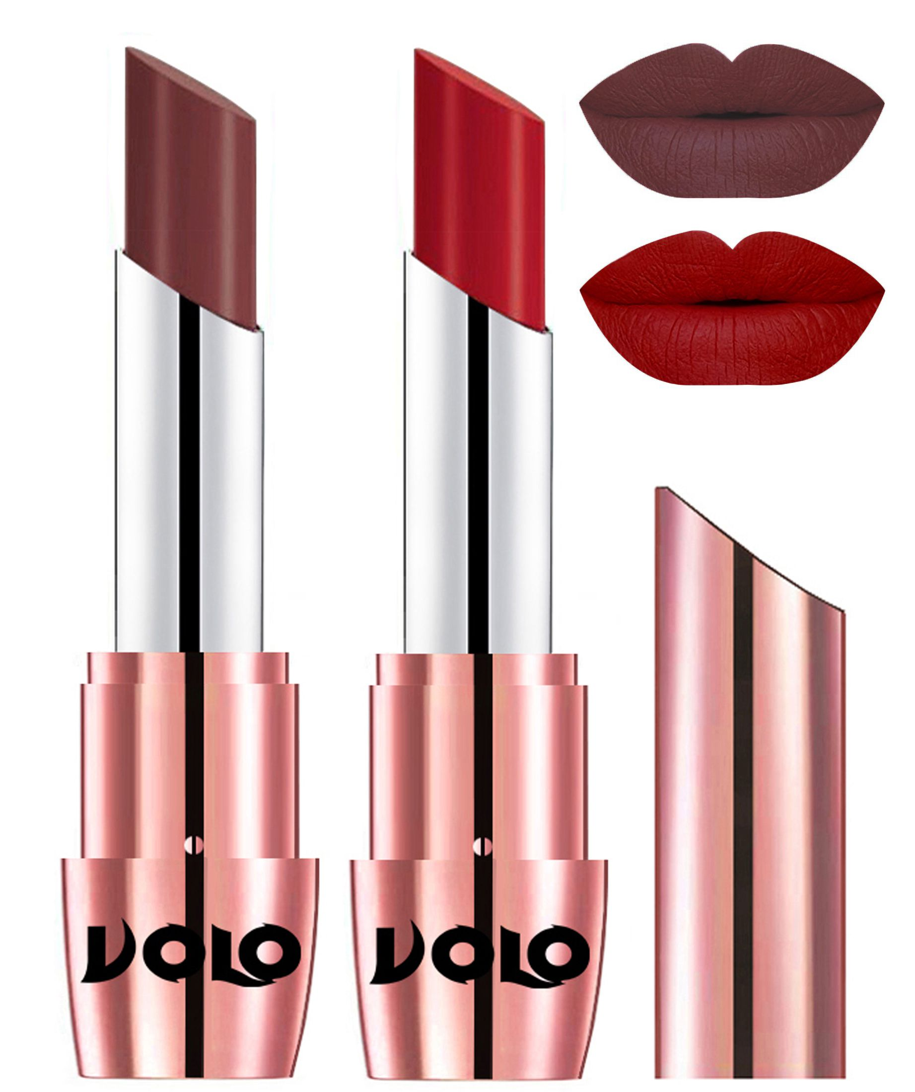 VOLO Perfect Creamy with Matte Lipstick Coffee Red Pack of 2 7 g