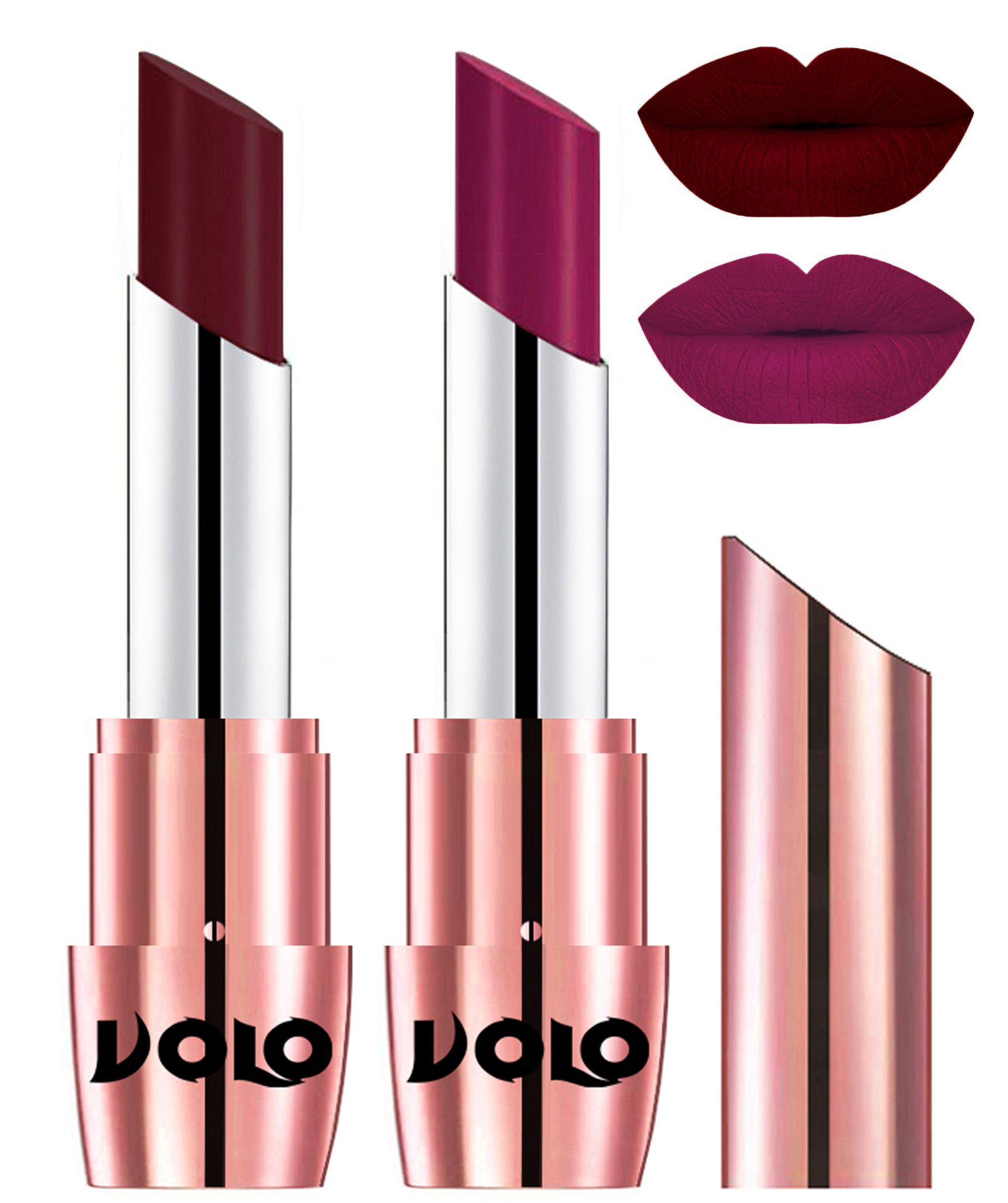 VOLO Perfect Creamy with Matte Lipstick Maroon Magenta Pack of 2 7 g