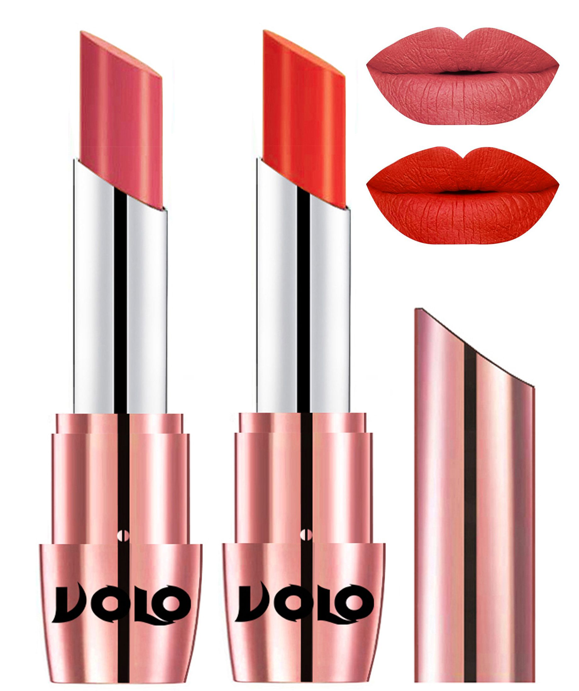 VOLO Perfect Creamy with Matte Lipstick Dark Peach Coral Pack of 2 7 g