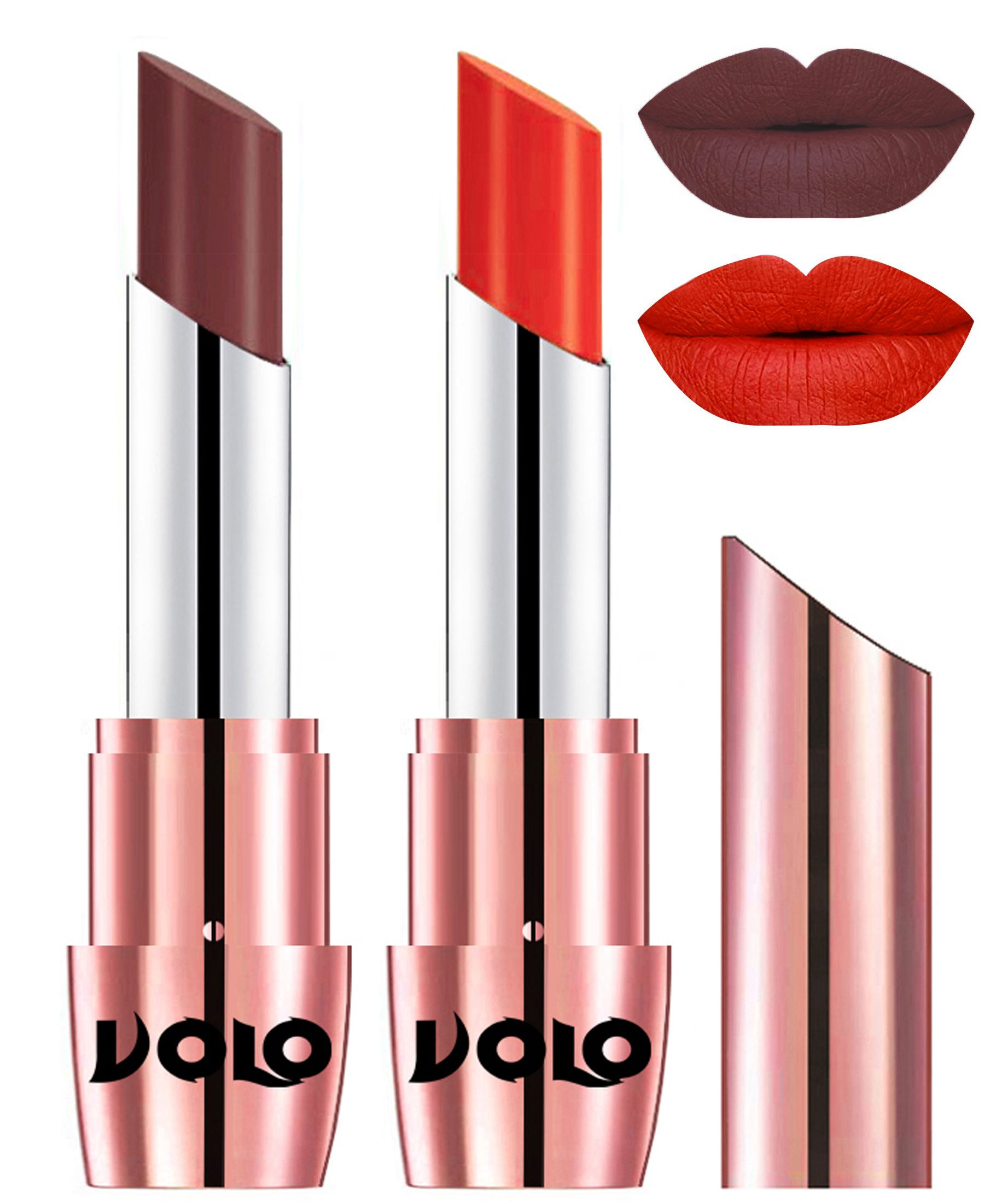 VOLO Perfect Creamy with Matte Lipstick Coffee Coral Pack of 2 7 g