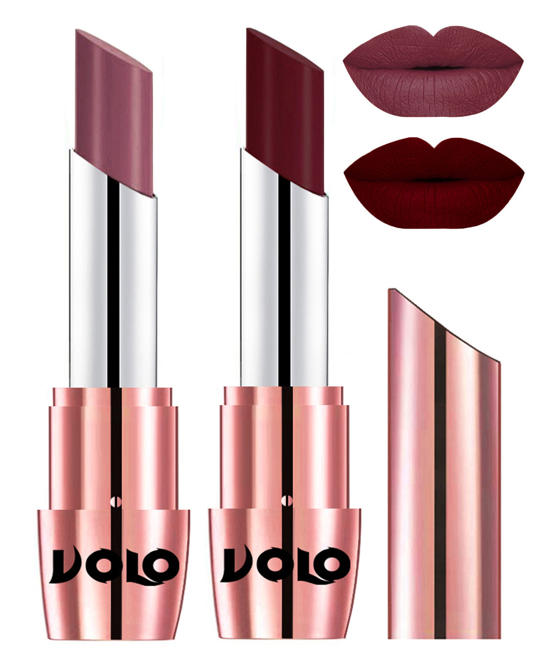 VOLO Perfect Creamy with Matte Lipstick Plum Maroon Pack of 2 7 g