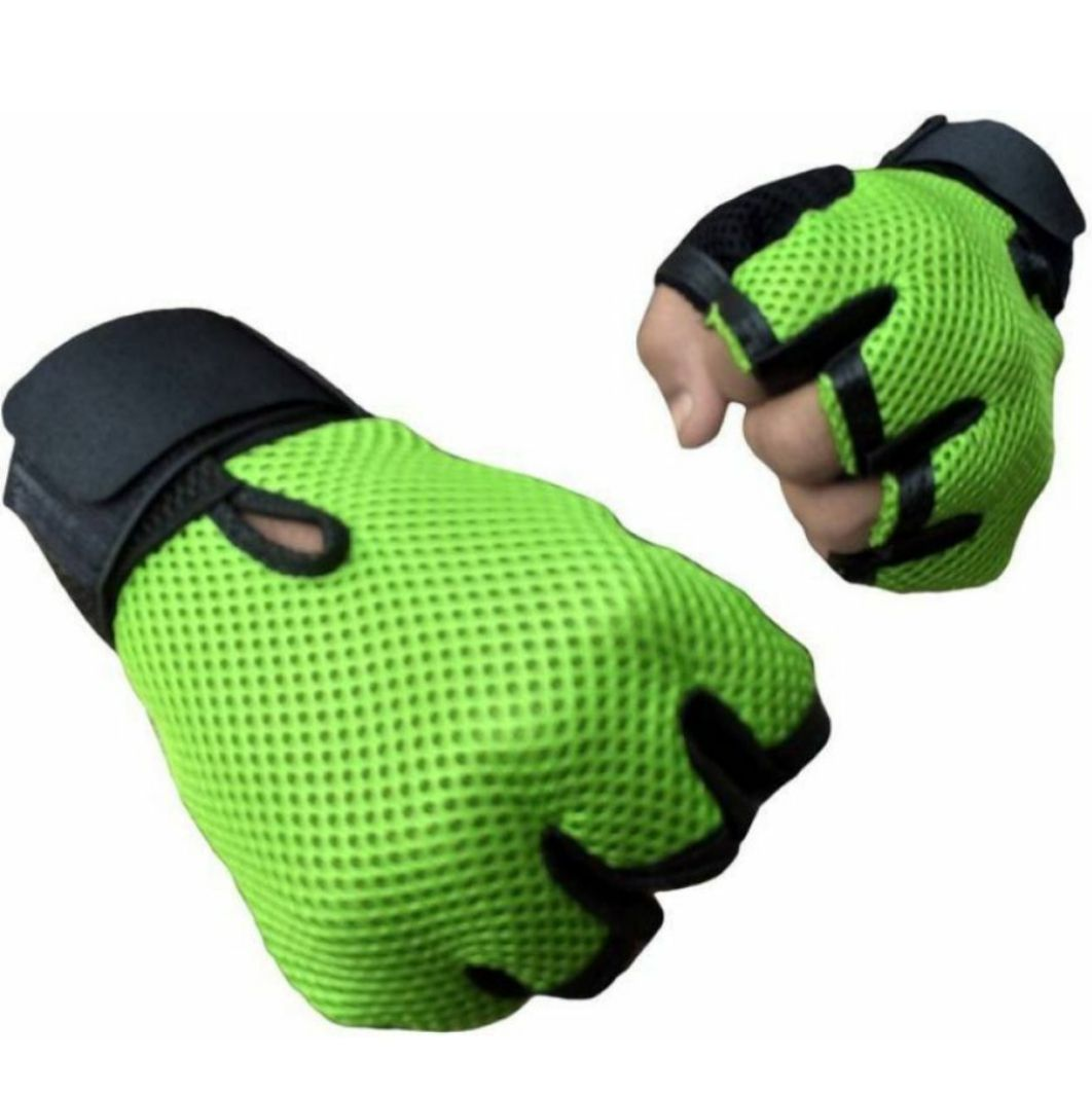 Manthan Grey Leather Gym Gloves for Men
