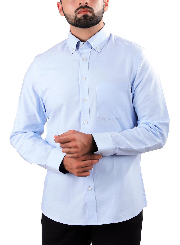 Pink Fox 100 Percent Cotton Blue Solids Shirt