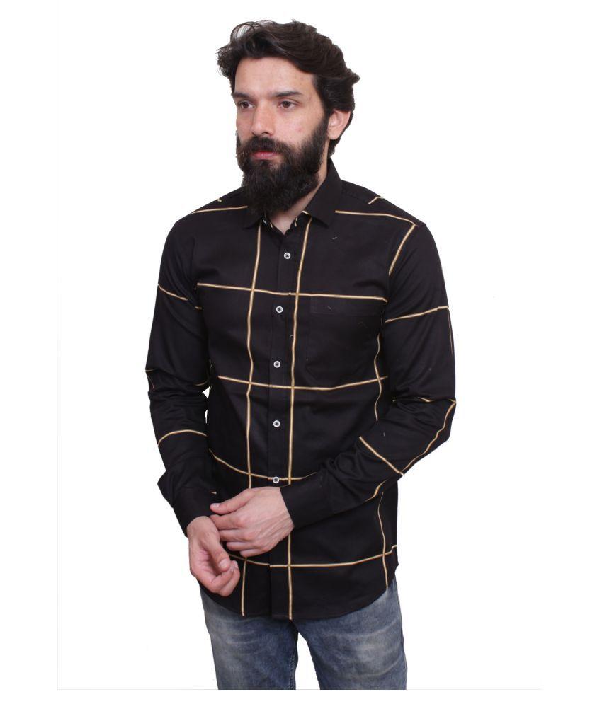 leeonn 100 Percent Cotton Black Checks Shirt