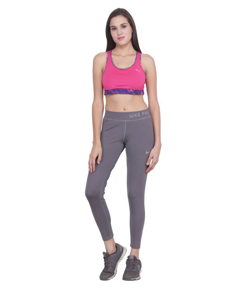 Nike Grey Polyester Lycra Solid Tights