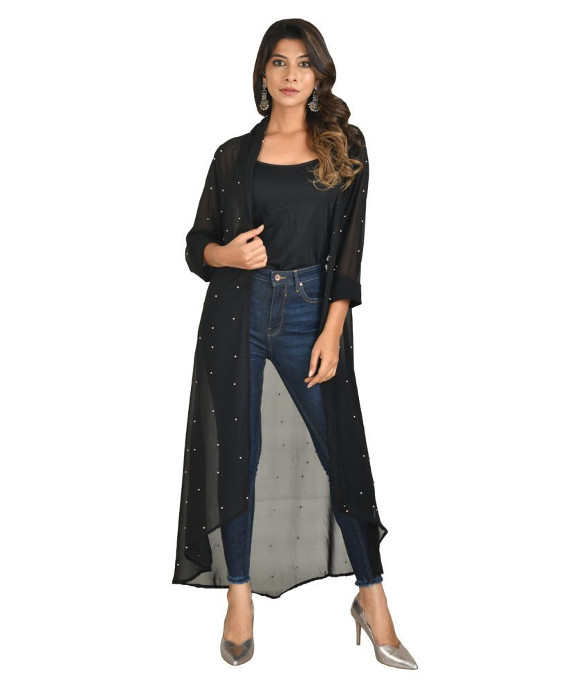 Vedic Georgette Shrugs - Black
