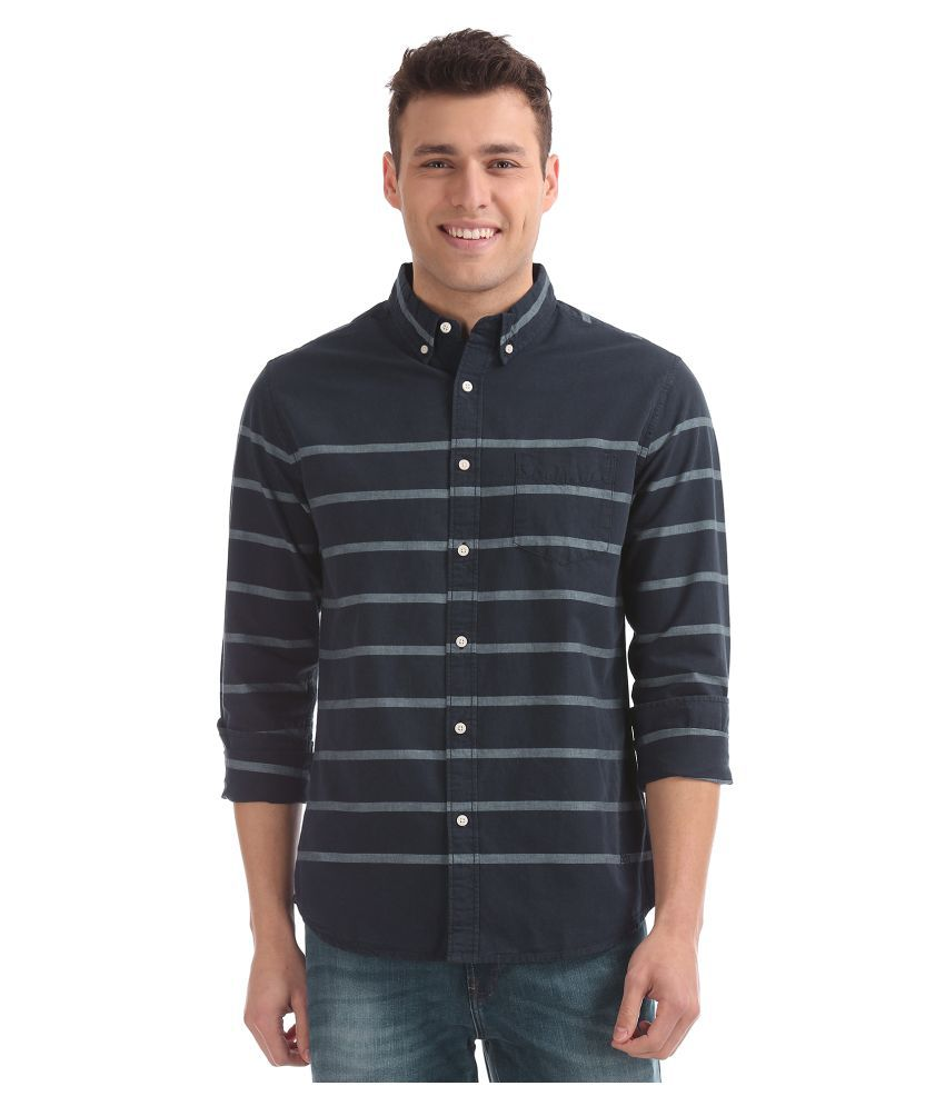 Aeropostale 100 Percent Cotton Blue Stripes Shirt