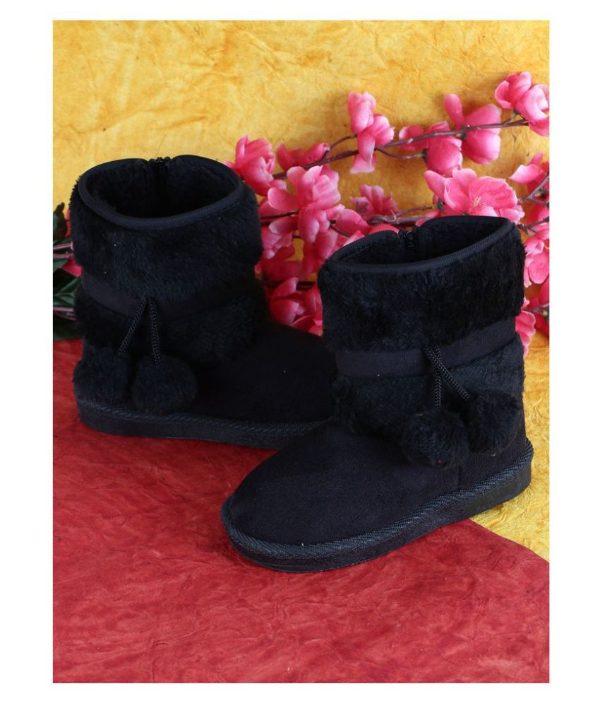 Passion Petals Winter Boots With Fur Ball For Girls -Black