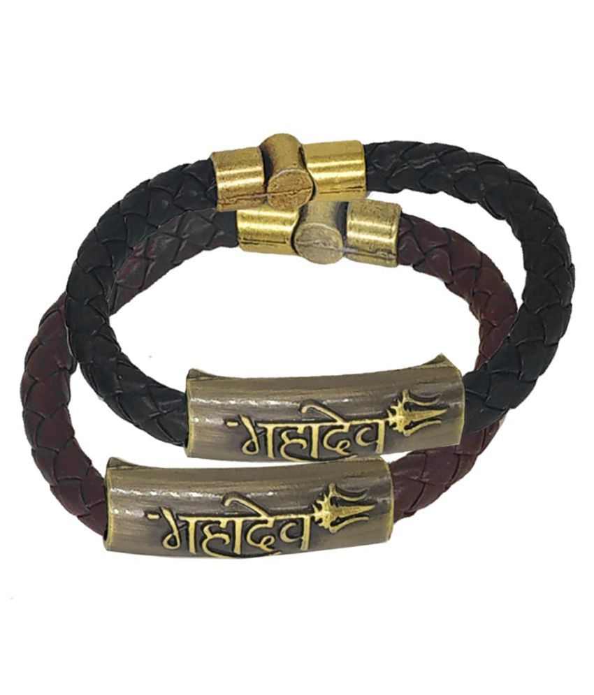Shiv Jagdamba Mahadev Trishul Charm ID Black Brown Gold Leather Stainless Steel Combo Bracelet