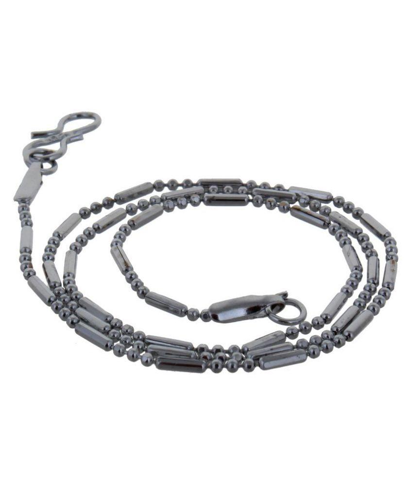 Lucky Jewellery Designer Rhodium Polish German Silver Chain Necklace For Men & Women (35-A3C-2644-R16)