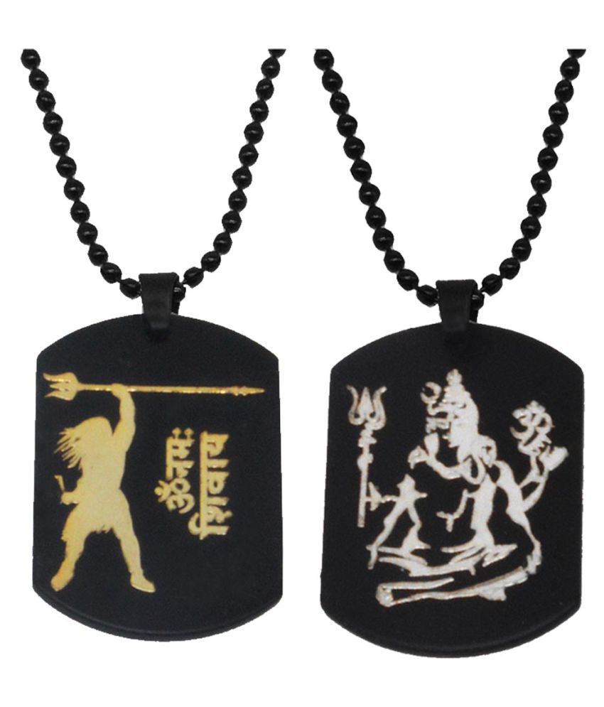 Shiv Jagdamba Religious Jewellery Lord Shiva Combo Black Gold Silver Stainless Steel Necklace Pendant