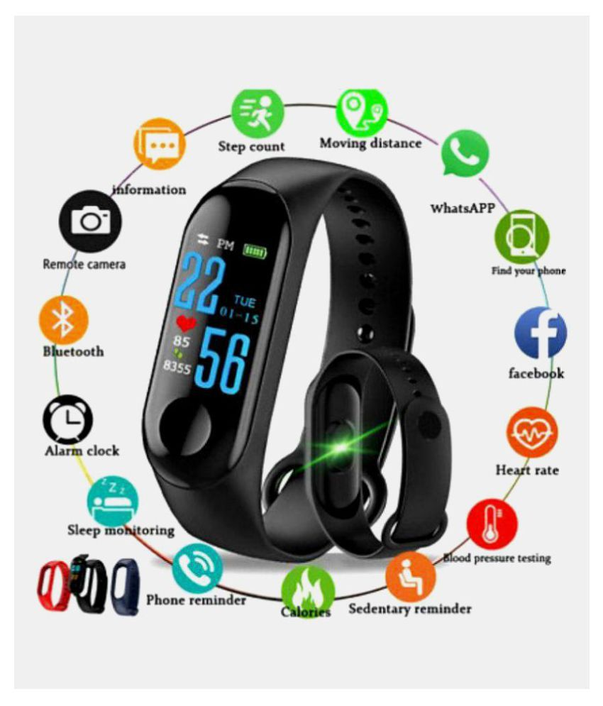 BUYSHOP XiaomiMi Note 3 Compatible M3 Band|Heart Rate Band|Health Watch|Calories Tracker Band|Step Count Band|Fitness Tracker|Bluetooth Smart Band|Wrist Watch Band with Alarm System
