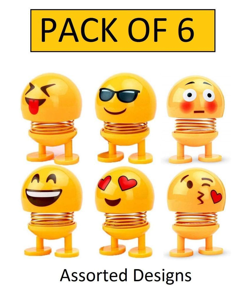 G-nox 6PCs Smiling Face Spring Doll Cute Emoji Bobble Head Car Interior Dashboard Decoration Funny Emoticon Figure Expression Toys Pack