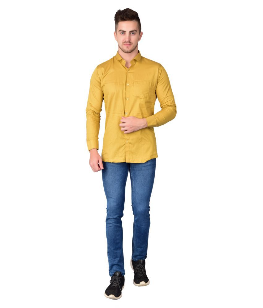 Madovrfashion 100 Percent Cotton Yellow Solids Shirt