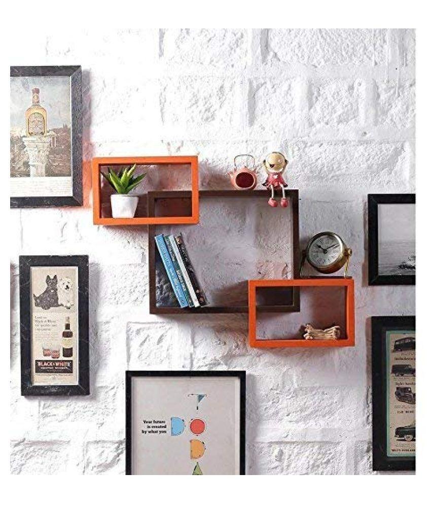 Universal Wood Handicrafts Rectangle Intersecting Box MDF Wall Shelf Set of 3 (Brown&Orange)