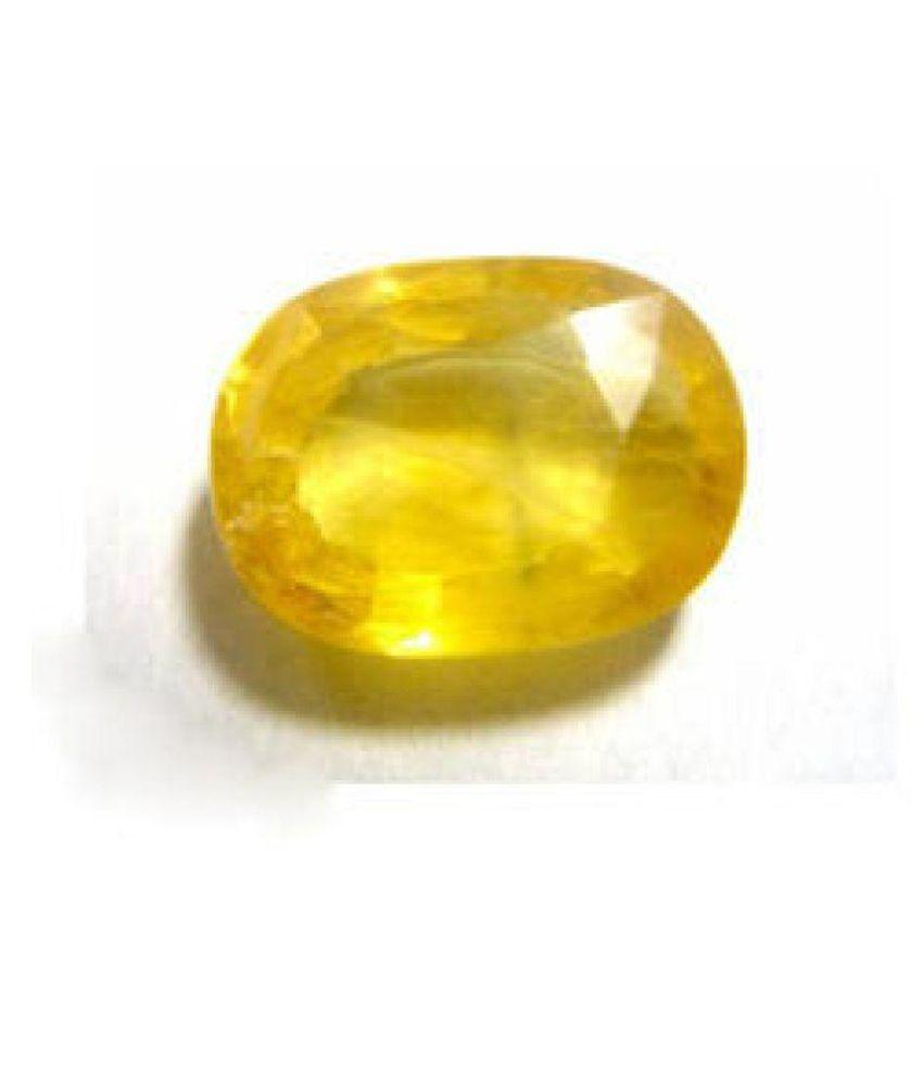 Gems Jewels Online 5.5 -Ratti IGL&I Yellow Yellow Sapphire (Pukhraj) Precious Gemstone