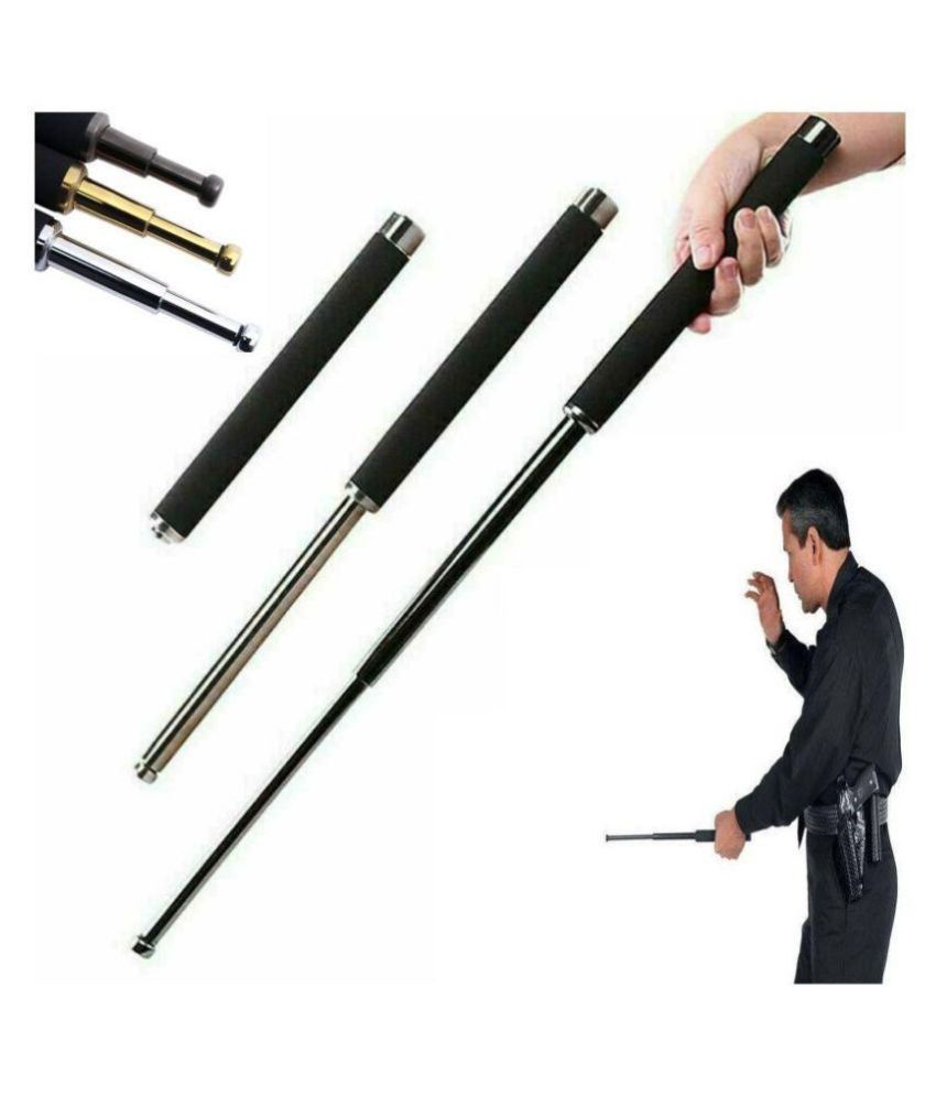 Tactical Telescopic Baton Stainless Steel Self Defence  Security Folding Stick