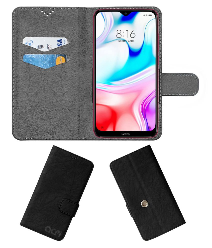 Xiaomi Redmi 8 Flip Cover by ACM - Black Clip holder to hold your mobile securely