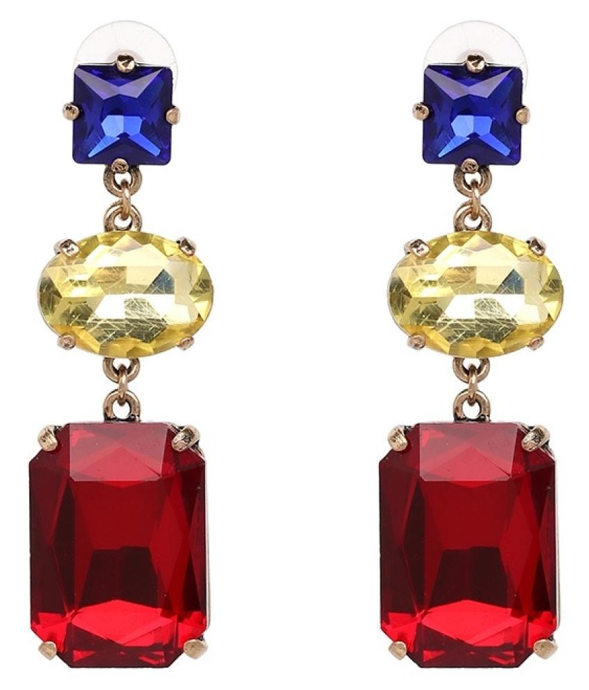 OOMPH Jewellery Red, Blue & Gold Square Large Crystal Statement Fashion Drop Earrings For Women & Girls