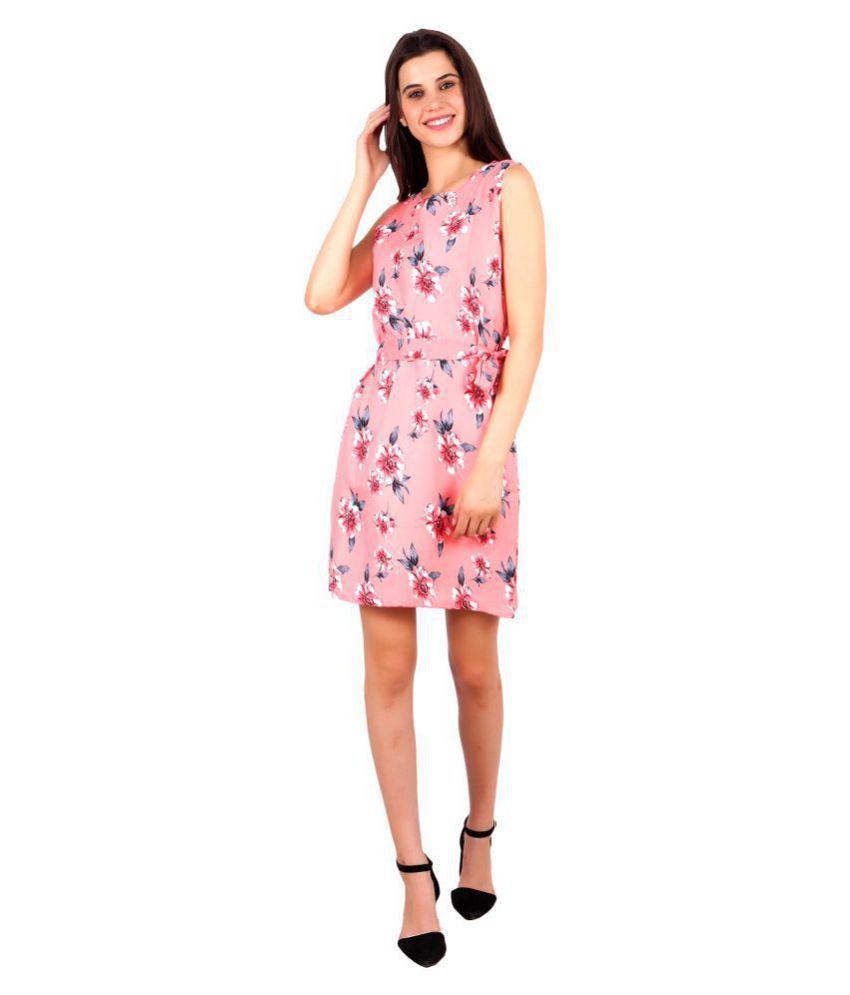 My Swag Crepe Pink Sheath Dress