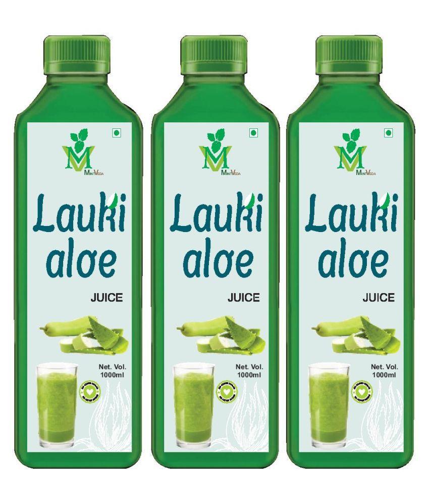 Mint Veda Lauki Aloevera (Sugar Free) Juice Pack of 3 Health Drink 1 l